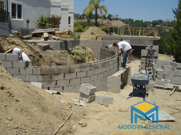 Curve block wall - general contractor Altadena